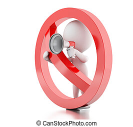 3d White people with megaphone surrounded by a forbidden...