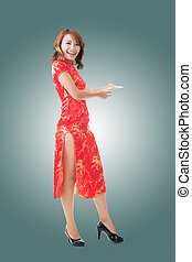 Chinese woman dress traditional cheongsam - Smiling Chinese...