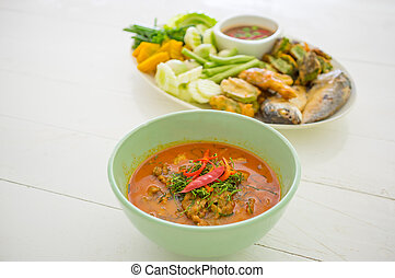Thai Food Red Curry and Shrimp paste with fried mackerel and...