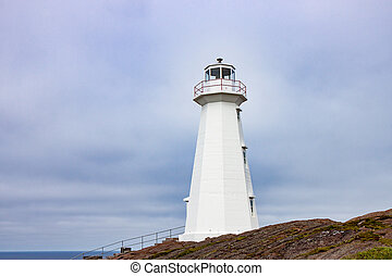 White Lighthouse at Cape Spear Newfoundland - White Concrete...