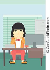 Tired woman sitting in office vector illustration - A tired...