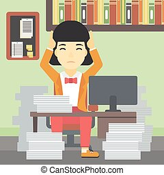 Business woman in despair sitting in office. - An asian...