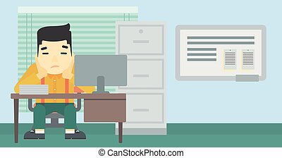 Tired man sitting in office vector illustration - A tired...