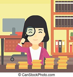 Woman with magnifier looking at golden coins.