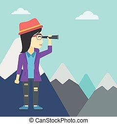 Business woman looking through spyglass - An asian business...