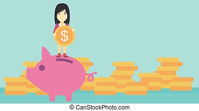 Business woman putting coin in piggy bank. - An asian young...
