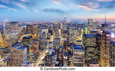 cidade, EUA,  York, Novo,  Manhattan, noturna