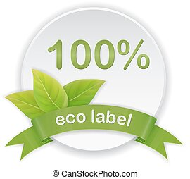 eco label green leaves ribbon