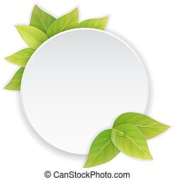 Circular paper label with green leaves