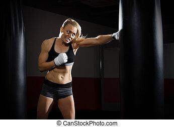 kickboxer, treinamento, mulher