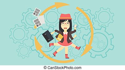 Business woman coping with multitasking - An asian young...