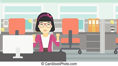 Successful business woman vector illustration. - An asian...
