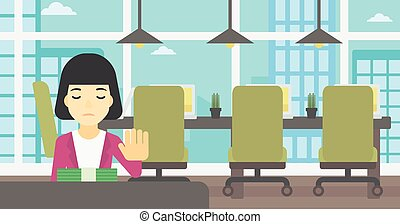 Woman refusing bribe vector illustration - An asian young...