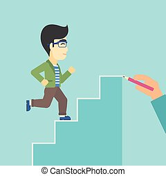 Businessman running upstairs vector illustration. - An asian...