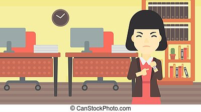 Angry business woman pointing at wrist watch - An asian...