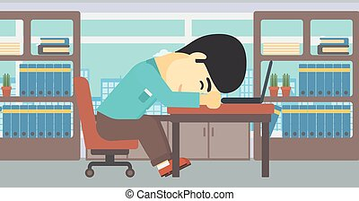 Businessman sleeping on workplace - An asian tired...
