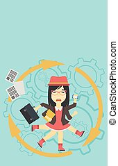 Business woman coping with multitasking. - An asian young...