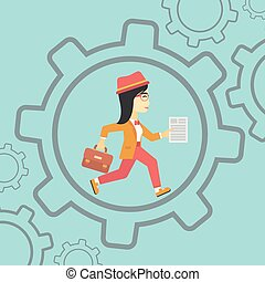 Business woman running inside the gear.