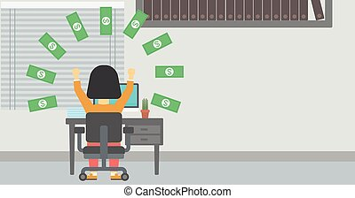 Successful business woman under money rain. - Business woman...