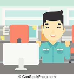 Successful businessman vector illustration - An asian young...