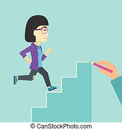 Businesswoman running upstairs vector illustration - An...