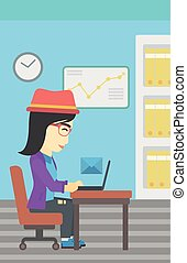 Business woman receiving or sending email. - An asian young...