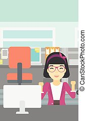 Successful business woman vector illustration - An asian...
