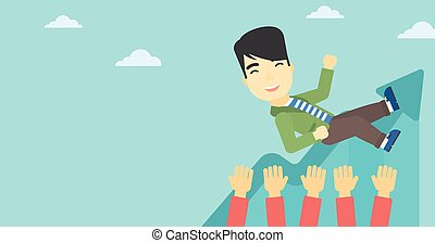 Successful businessman during celebration. - An asian young...