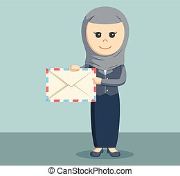 arab businesswoman with mail