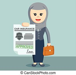 arab businesswoman with approved car insurance