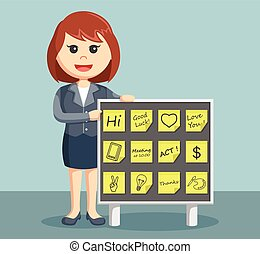 businesswoman with post it notes board