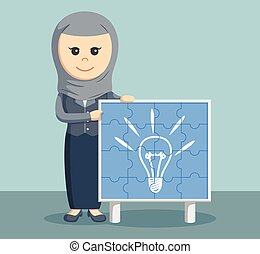 arab businesswoman with idea puzzle