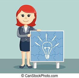 businesswoman with idea puzzle