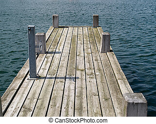 Wooden pier jetty in a marina