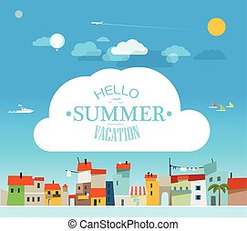 Vacation travelling concept with logo Hello summer