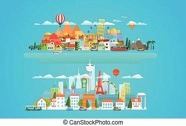 Different cityscapese Vector illustration