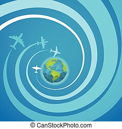Airplanes with the spiral trajectories with The Earth