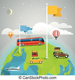 World map with color flags and transport. Design elements