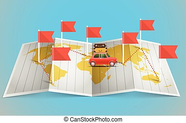 karta, elementara, flagga,  design, fordon, värld, röd