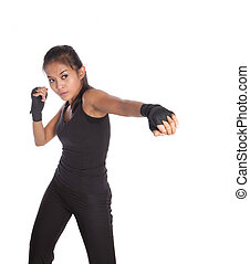 Female fitness trainer with one hand stretch in jabbing position