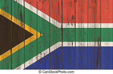 Flag of South Africa painted on wooden frame