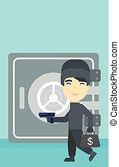 Burglar with gun near safe vector illustration. - An asian...