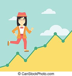 Business woman running upstairs. - An asian young business...