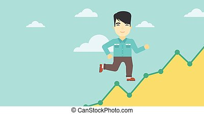 Businessman running upstairs. - An asian young businessman...