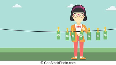 Woman loundering money vector illustration - An asian young...