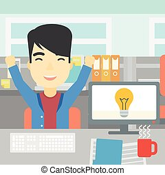 Creative excited man having business idea.