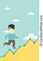 Businessman running upstairs - An asian young businessman...