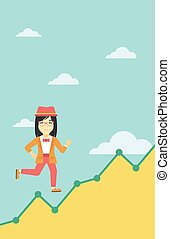 Business woman running upstairs - An asian young business...