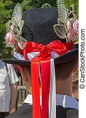 Hats traditional German male, decorated with popular models...
