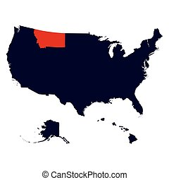 Montana State in the United States map